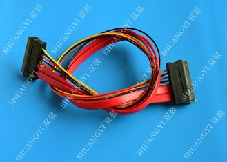 Red SATA Data Cable Slimline SATA To SATA Female / Male Adapter With Power